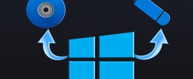 Изображение логотипа Windows, диска и флешки