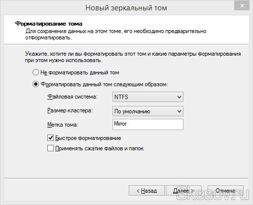 Выбор файловой системы и метки тома для зеркального раздела