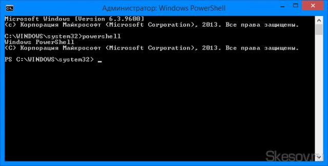 Запускаем оболочку PowerShell введя команду powershell. В начале строки появляются буквы PS.