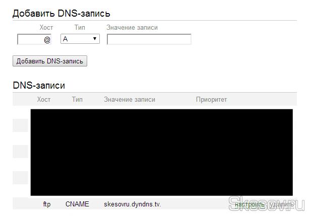 Как я и писал ранее, если у вас имеется доменное имя, то вы можете его привязать к вашему компьютеру. Для этого нужно в редакторе DNS вашего регистратора, прописать  CNAME запись со значением вашего домена, полученного на dyn.com. Для примера я сделал поддомен ftp.skesov.ru для подключения к ftp серверу своего компьютера. И в интерфейсе редактора DNS яндекса это выглядит вот так. Так же можно сделать редирект для основного домена, заменив ftp на две записи www и @.