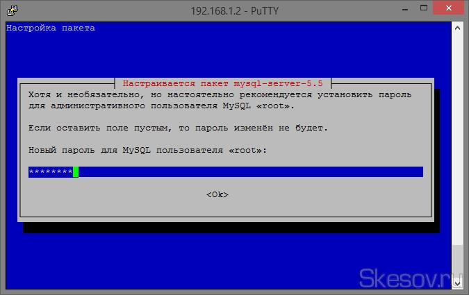 В процессе установки высветится синие окно настройки MySQL и первые вопрос об установки пароля для доступа к базам, вводим пароль, который вы будете для этого использовать.