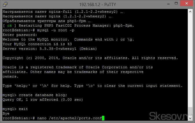 Теперь займемся конфигами php машин. Для начала запретим apache2 слушать 80 порт, иначе не запустится nginx, а нам нужен именно он. Вбиваем команду:  nano /etc/apache2/ports.conf