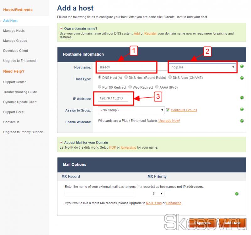 Заполняем название хоста, домен второго уровня и свой текущий IP-адрес
