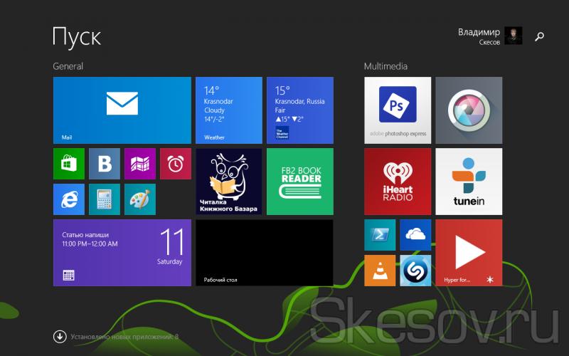 Меню Пуск ОС Windows 8.1 на планшете Chuwi Vi8
