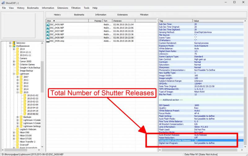 В правой части окна листаем вниз, пока не увидим значение Total Number of Shutter Releases