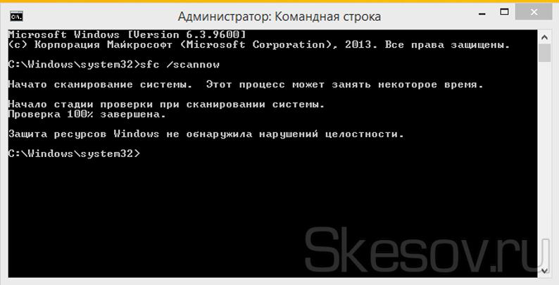 Результаты сканирования системы Windows