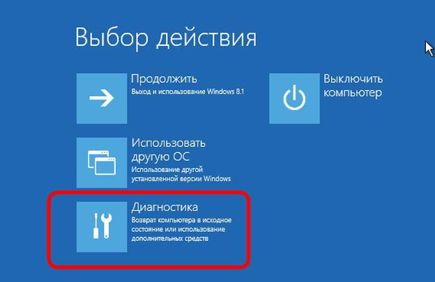 Окно выбора действия Windows