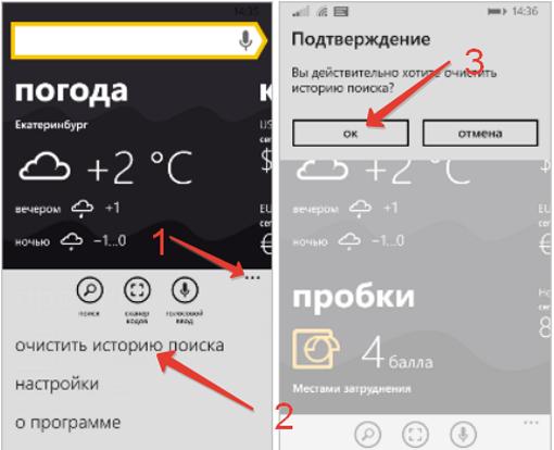 Яндекс.Браузер в системе Windows Phone