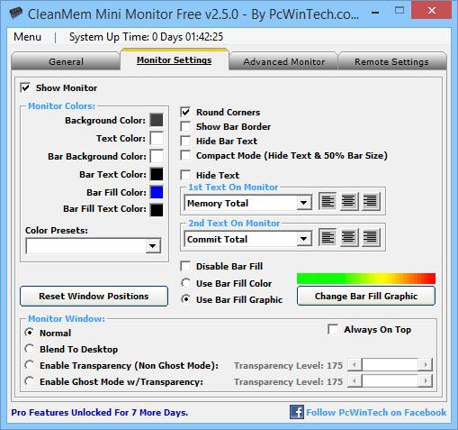 Главное окно программы CleanMem