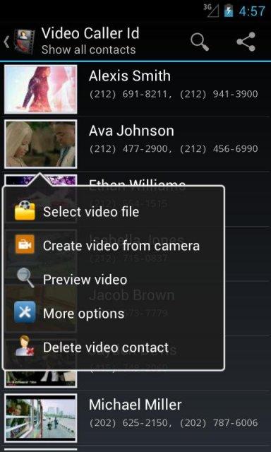 Меню приложения Video Caller Id