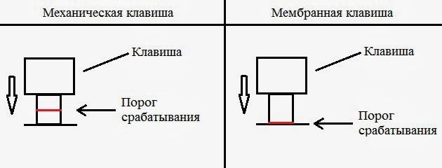 Механическая и мембранная клавиши