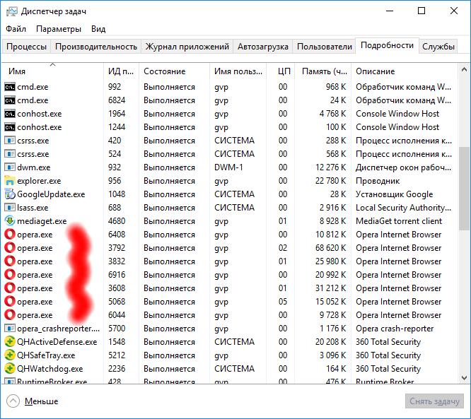 Диспетчер задач Windows 10