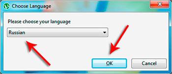 Окно выбора языка установки
