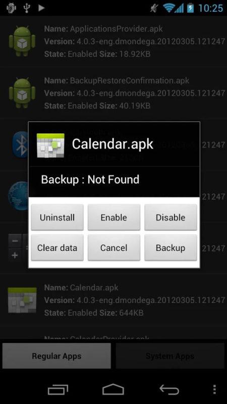 Меню операций в SystemApp Remover