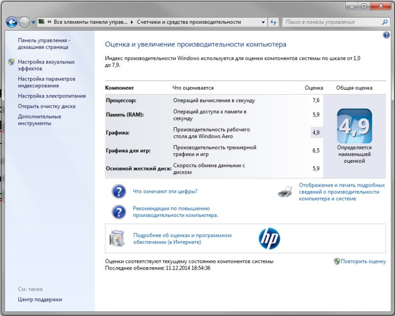 Окно «Оценка и увеличение производительности компьютера»