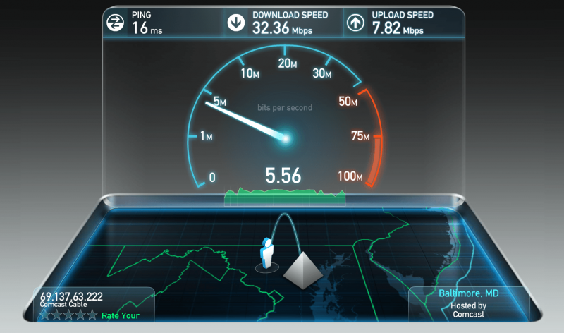 Проверка скорости интернета через SpeedTest