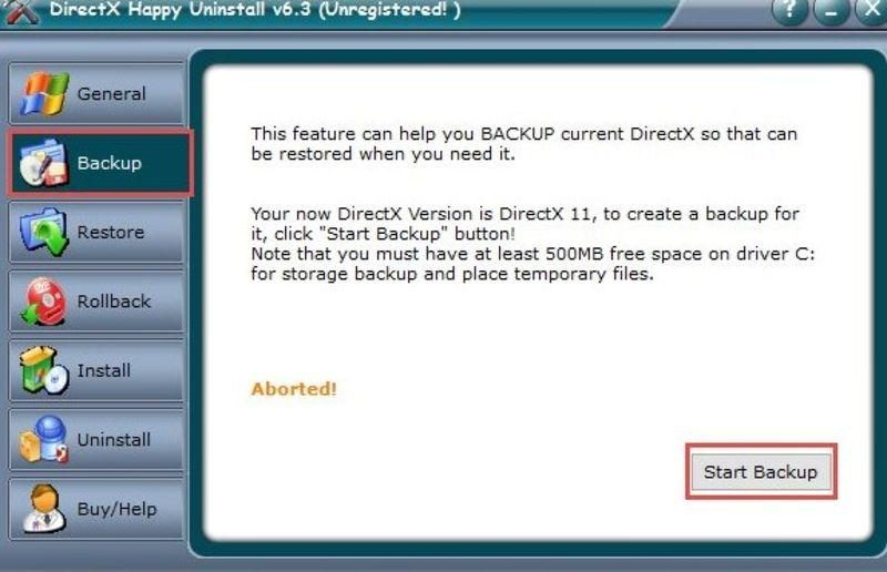 Вкладка «Backup» в программе DirectX Happy Uninstall