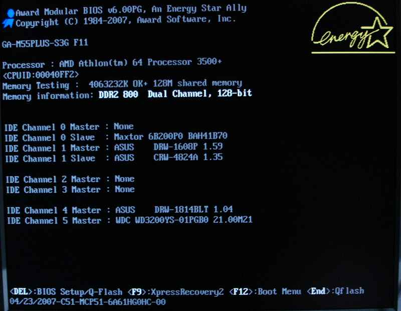 Экран загрузки BIOS