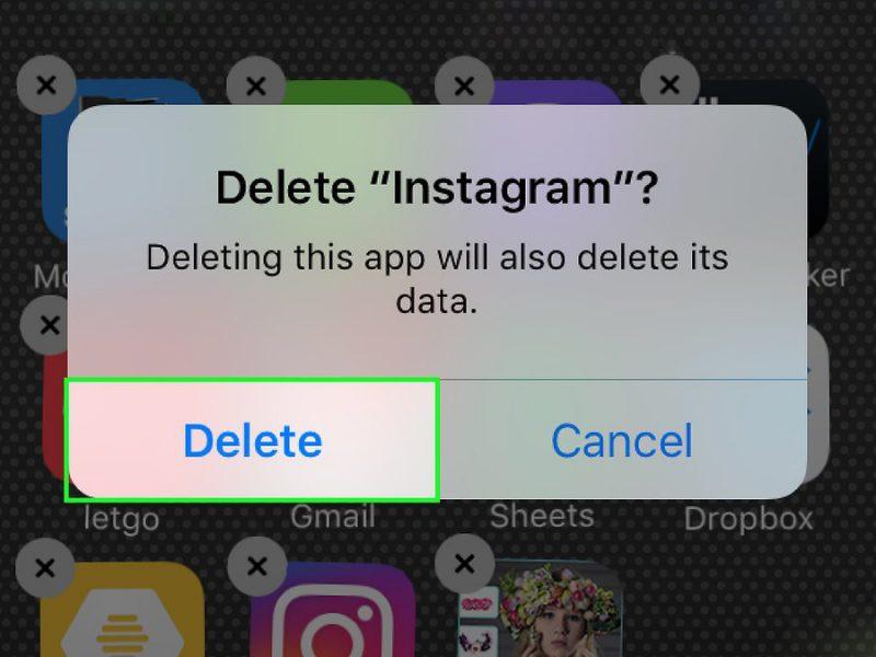 Кнопка «Удалить» инстаграм