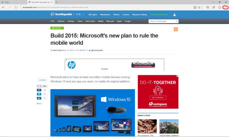 Вид окна в браузере Microsoft Edge