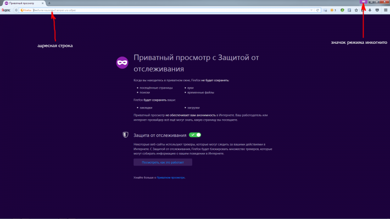 Активный режим «Инкогнито» в Mozilla Firefox