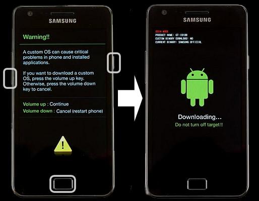 Смартфон Samsung в режиме аварийного восстановления