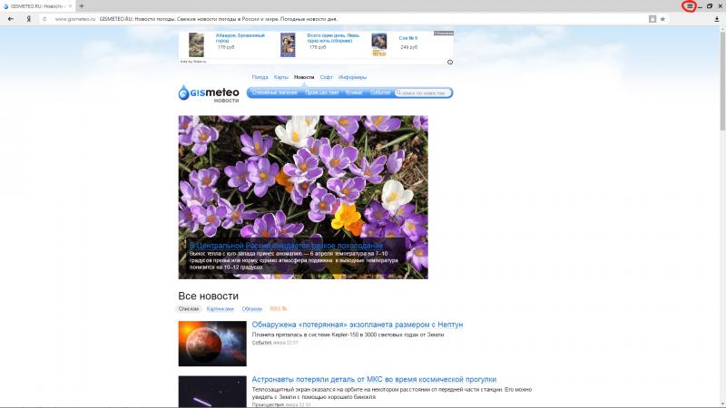 Вид окна в «Яндекс.Браузере»