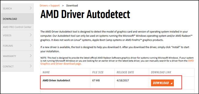 Интерфейс приложения AMD Driver Autodetect