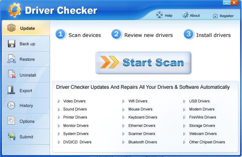 Интерфейс приложения Driver Checker