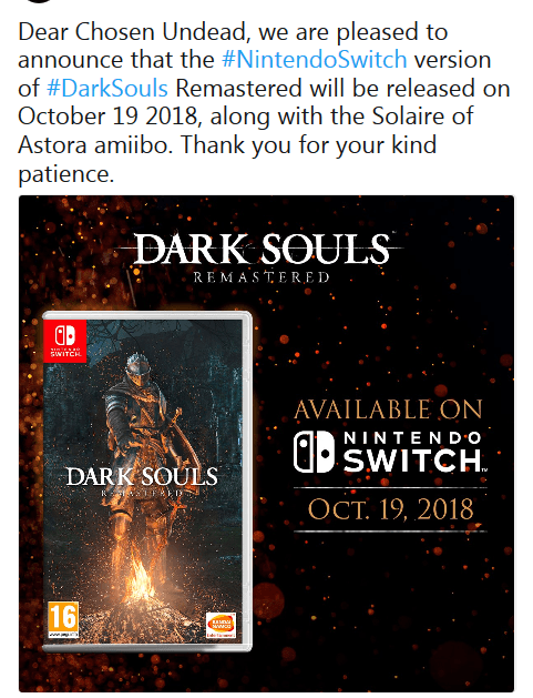 Dark Souls Remastered доберётся до Switch в октябре