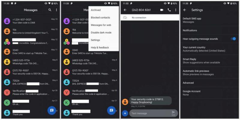 Приложение «Сообщения» для Android