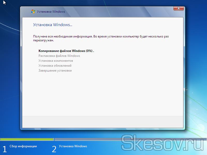 Начался процесс установки операционной системы