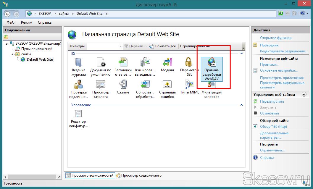 """В центральной части окна открываем """"Правила разработки WebDAV"""""""