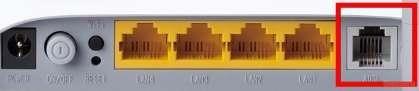 Если вы будете работать по технологии ADSL, то вставляем телефоный кабель в соответствующий четырех контактный порт: