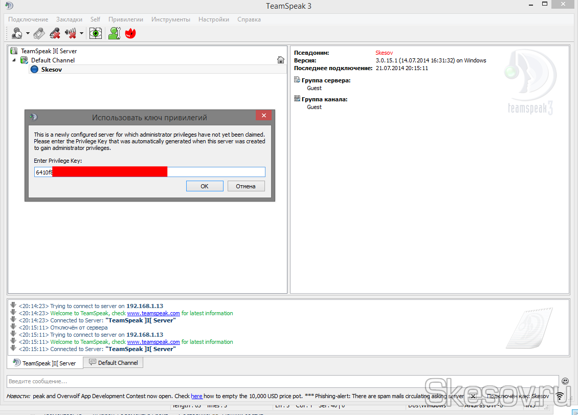 Как настроить сервер TeamSpeak 3 на домашнем компьютере на Windows 10, 8.1, 8, 7, Vista Skesov.ru
