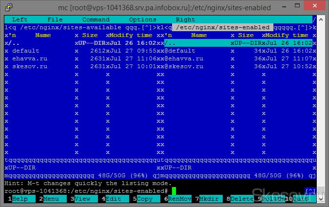 Теперь сразу же создаем символьную ссылку с этого файла в соседний каталог командой (для файлов к вашим сайтам символьные ссылки тоже нужно создавать):  ln -s /etc/nginx/sites-available/default /etc/nginx/sites-enabled/default  Должно получиться примерно вот так, слева файлы, справа символьные ссылки на них.
