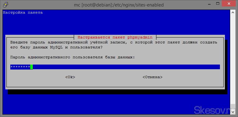 Вводим пароль, которые мы задали при установке MySQL.