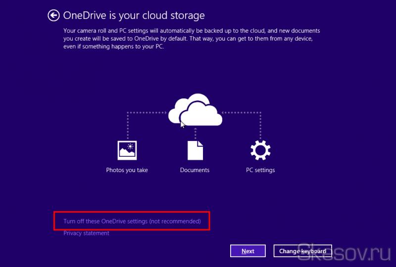 Кстати, я еще не писал об этом, но в обновленных установщиках Windows 8.1 можно отключить синхронизацию OneDrive еще на этапе установки ОС. Такая же возможность имеется и здесь. Просто жмем Turn Off.