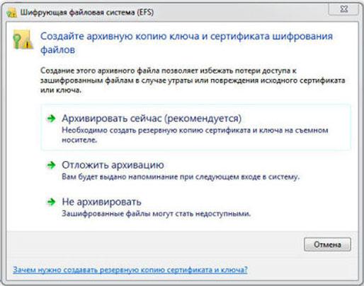 Окно EFS