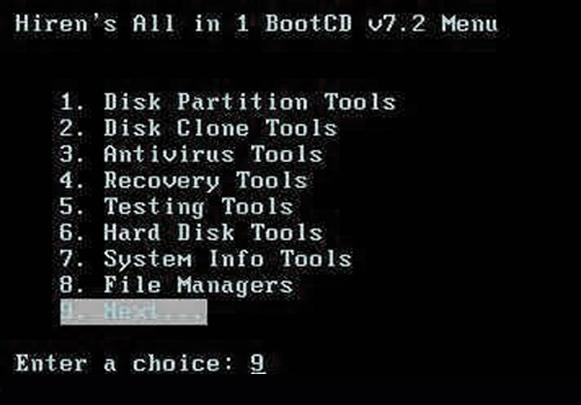 Утилита Hiren's Boot CD