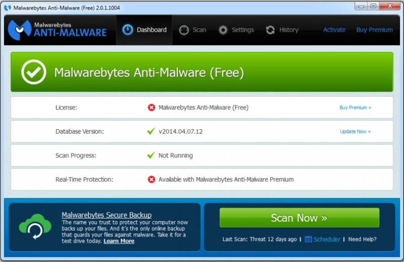 Главное окно программы Malwarebytes Anti-Malware