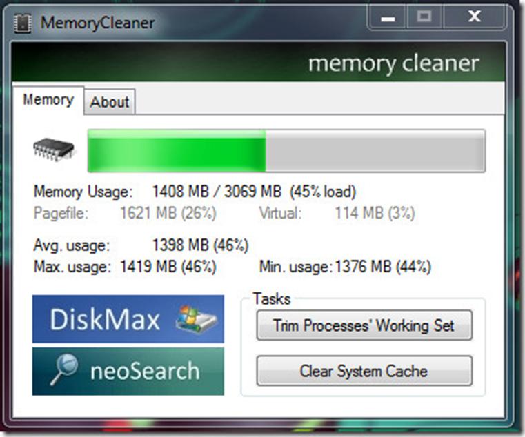 Главное окно программы MemoryCleaner