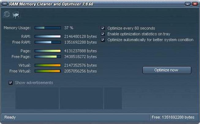 Главное окно программы RAM Memory Cleaner and Optimizer