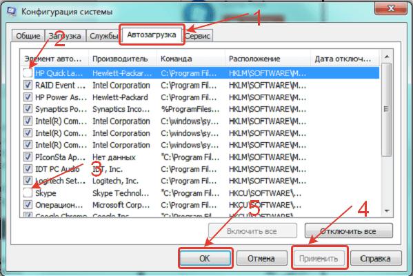 Окно конфигурации Windows 7