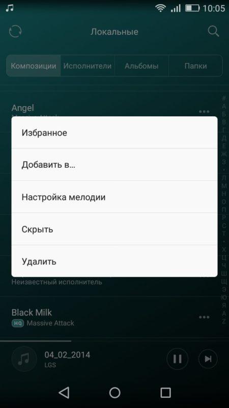 Скриншот окна с опциями