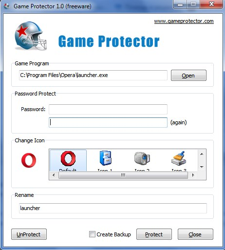 Начальная страница Game Protector