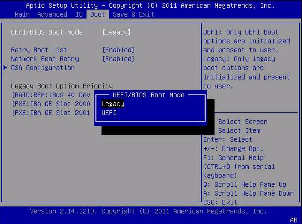 Настройка работы BIOS