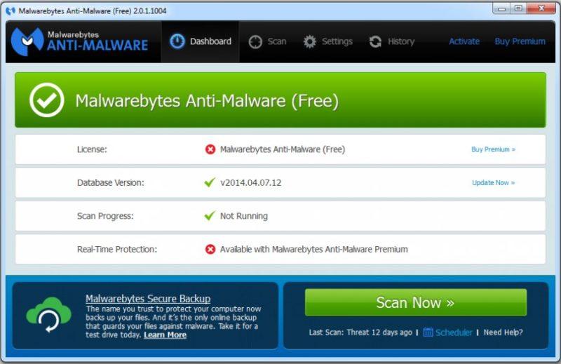 Программа Malwarebytes Anti-Malware
