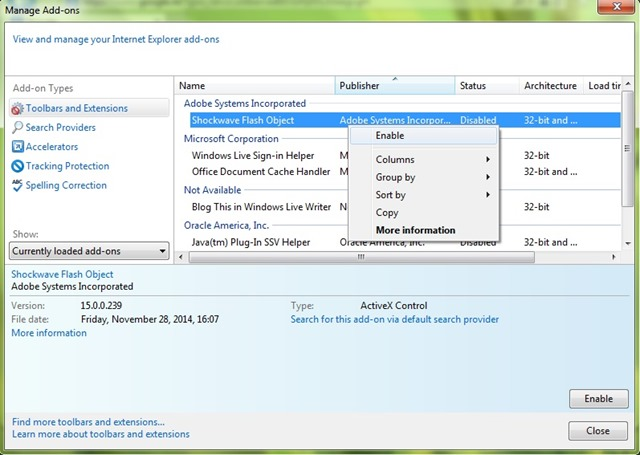Включение флеш-плеера в Internet Explorer