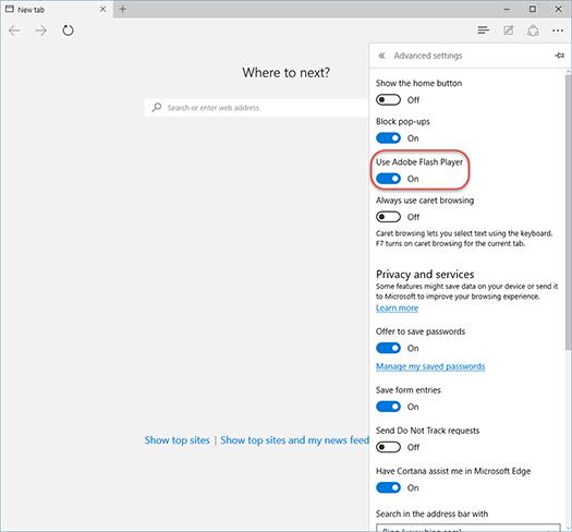 Включение флеш-плеера в Microsoft Edge